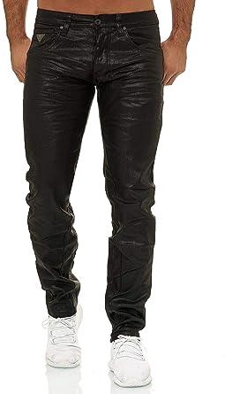 EGOMAXX Pantalones de Hombre Recubiertos de algodón Encerado Negro ...