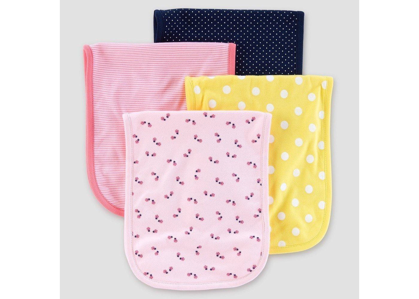 Carter's Baby Girls' 4-Pack Burp Cloths, Pink/Yellow/Navy