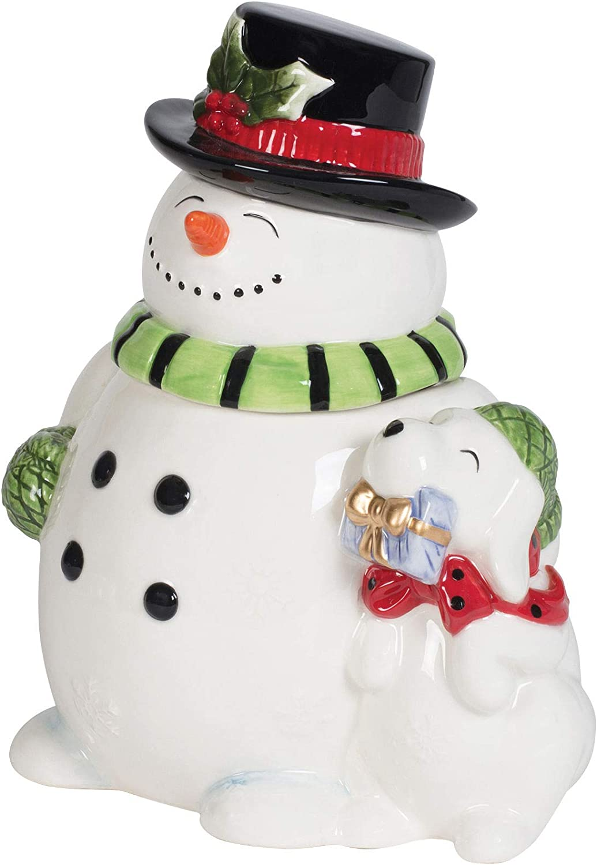 Fitz and Floyd Holly Jolly Snowman Cookie Jar, 84-Ounce, Assorted
