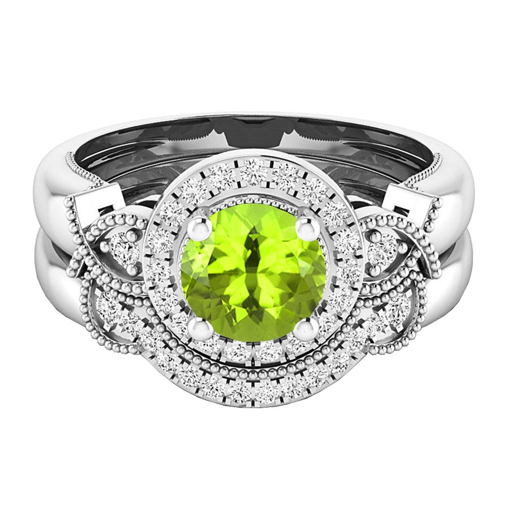 Dazzlingrock Collection 10K 6 MM Round Peridot & White Diamond Ladies Halo Engagement Ring Set, White Gold, Size 8 by Dazzlingrock Collection (Image #2)