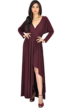 b545434ce068b Koh Koh Womens Long Sleeve Sleeves Wrap Slit Split Formal Fall Winter  Cocktail Sexy Flowy Evening