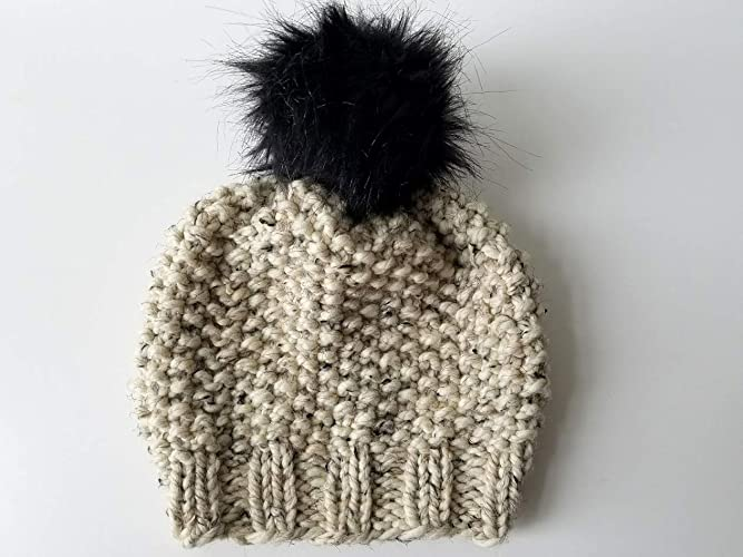 9070b79ebe6 Amazon.com  Knit Beanie Hat with Faux Fur Pom Pom (Adult). Handmade in  Chunky