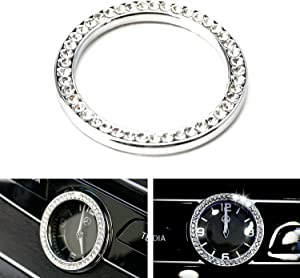 iJDMTOY (1) Crystal Silver Chrome Interior Dashboard Clock Surrounding Decoration Ring Trim Compatible With Mercedes W205 C-Class W213 E-Class X205 GLC-Class, etc