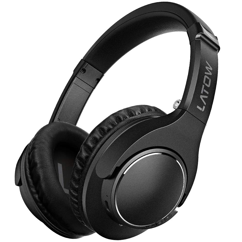 Bluetooth Headphones Over Ear, LATOW Wireless/Wired Hi-Fi Stereo Headsets 20H Playtime Built-in Microphone Protein Earmuffs Foldable Headphones for Travel Work TV Computer