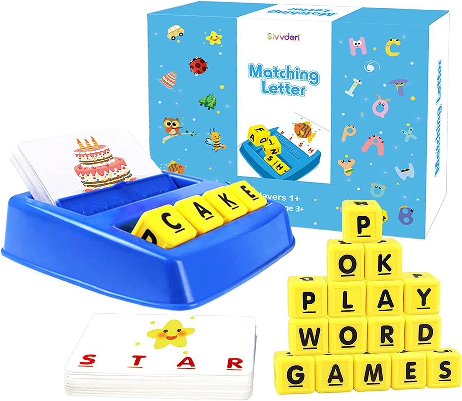 Words Learning Puzzles with 36 Cards /& 12 Letter Cubes for Boys Girls Age 3-8 Year Old Goldboy Matching Letter Game for Kids Education Toys for Kindergarteners Spelling Games for Preschoolers