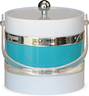 product image for Mr. Ice Bucket Ice Bucket, 3-Quart, White with Turquoise Center