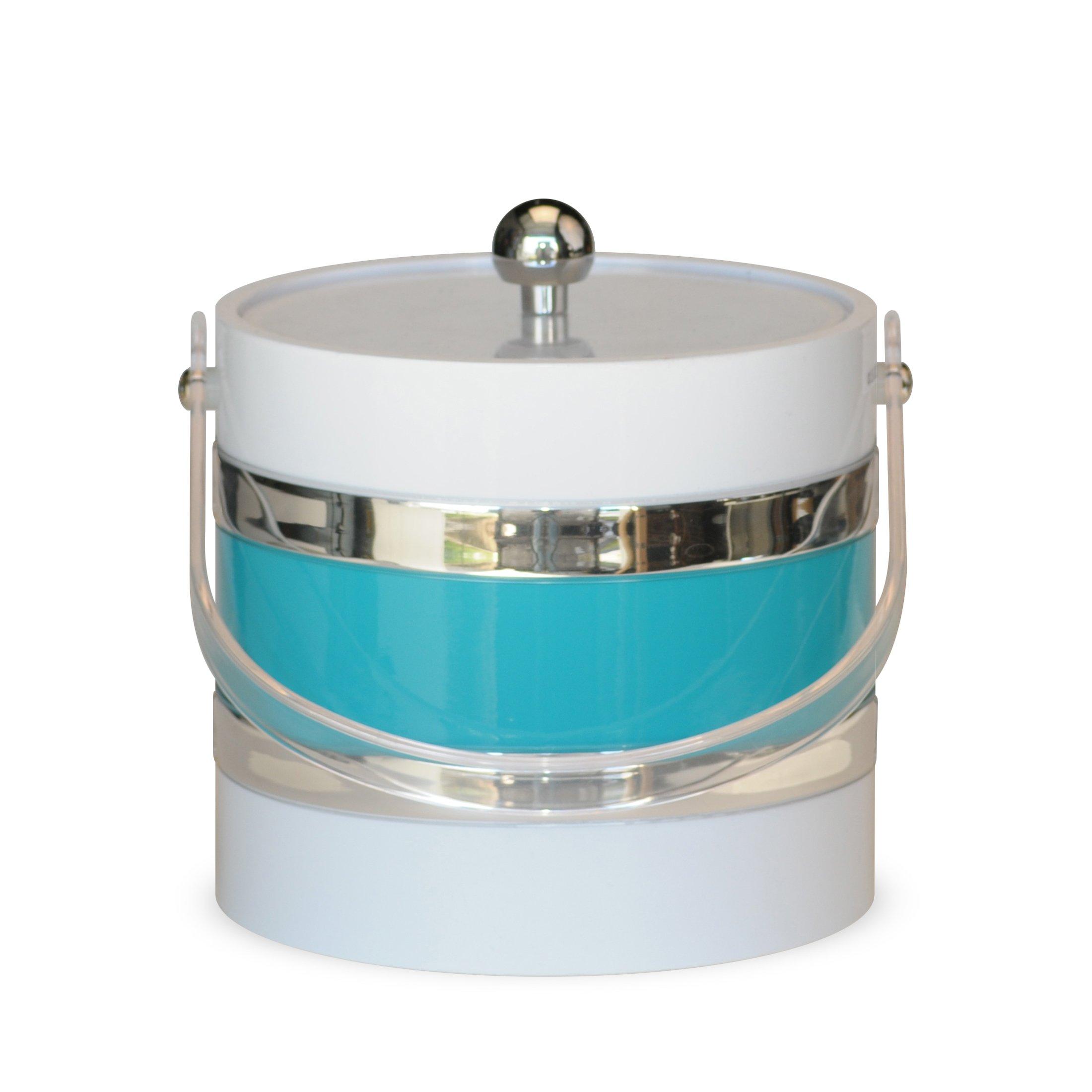 Mr. Ice Bucket Ice Bucket, 3-Quart, White with Turquoise Center
