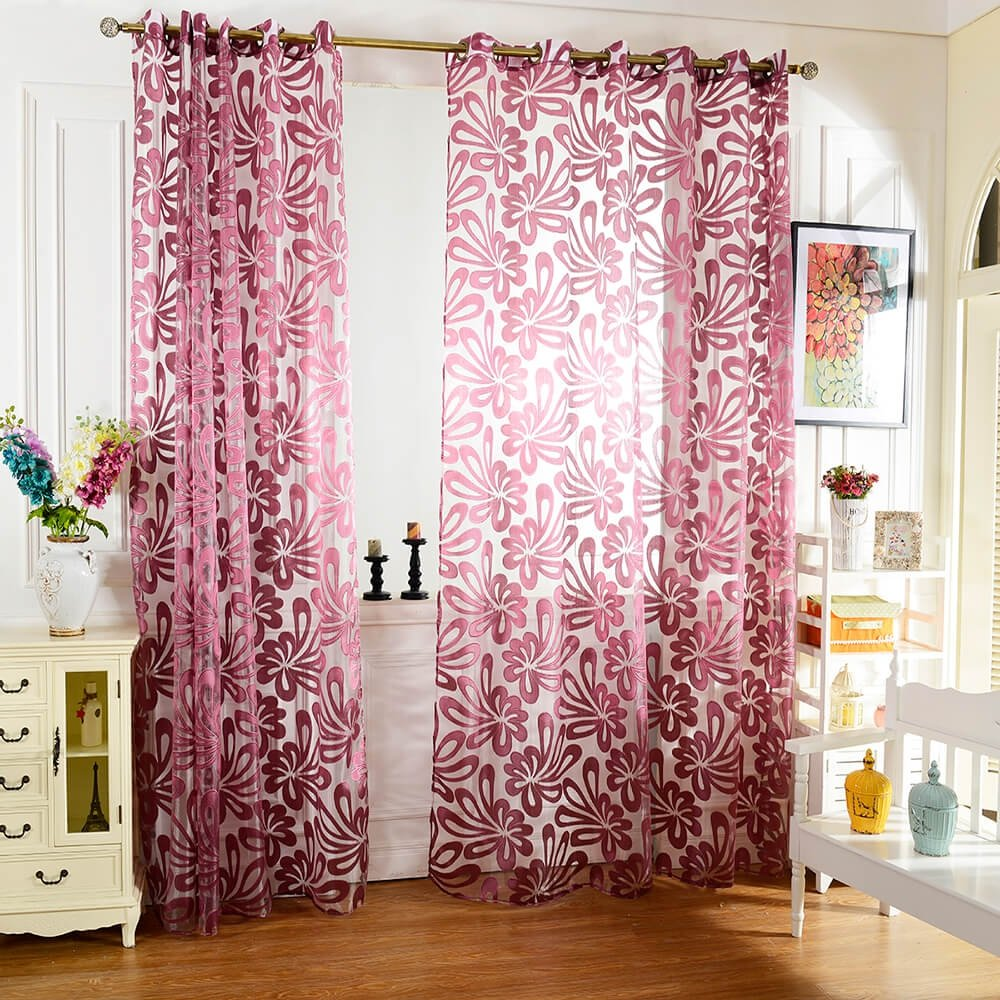 KF Flower Printed Tulle Window Curtains for Living Room Bedroom by KF