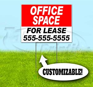 """Office Space for Lease Customizable (18""""x24"""") Corrugated Plastic Yard Sign, Bandit, Lawn, Decorations, New, Advertising, USA"""