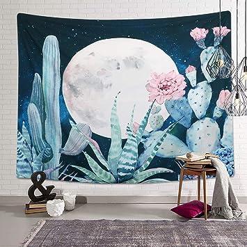 Dremisland Lune Tapisserie Cactus Mandala Indien Tapisseries Hippie Tenture Murale Couverture Decoration Pour Chambre Salon Salle De Plafond Motif 6
