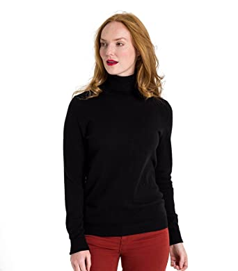 15d423bf05667 WoolOvers Womens Cashmere and Merino Polo Neck Jumper  Amazon.com.au ...