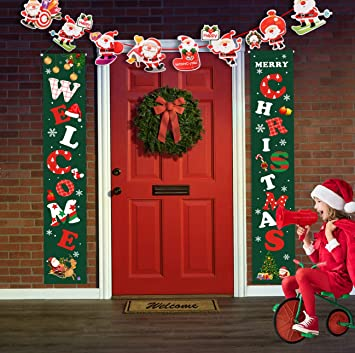 Idefair Buon Natale Striscioni Capodanno Decorazioni Natalizie per Interni allaperto Benvenuto Rosso Brillante Natale Portico Segno Appeso Decorazioni per Feste