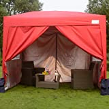 Quictent 3x3m Waterproof Red Pop Up Gazebo with Sidewalls