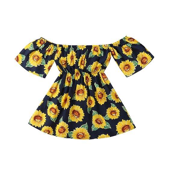 9a0c56829 KIDSA 1-6T Baby Toddler Little Girls Sunflower Summer Dresses Off Shoulder  Short Sleeve Party