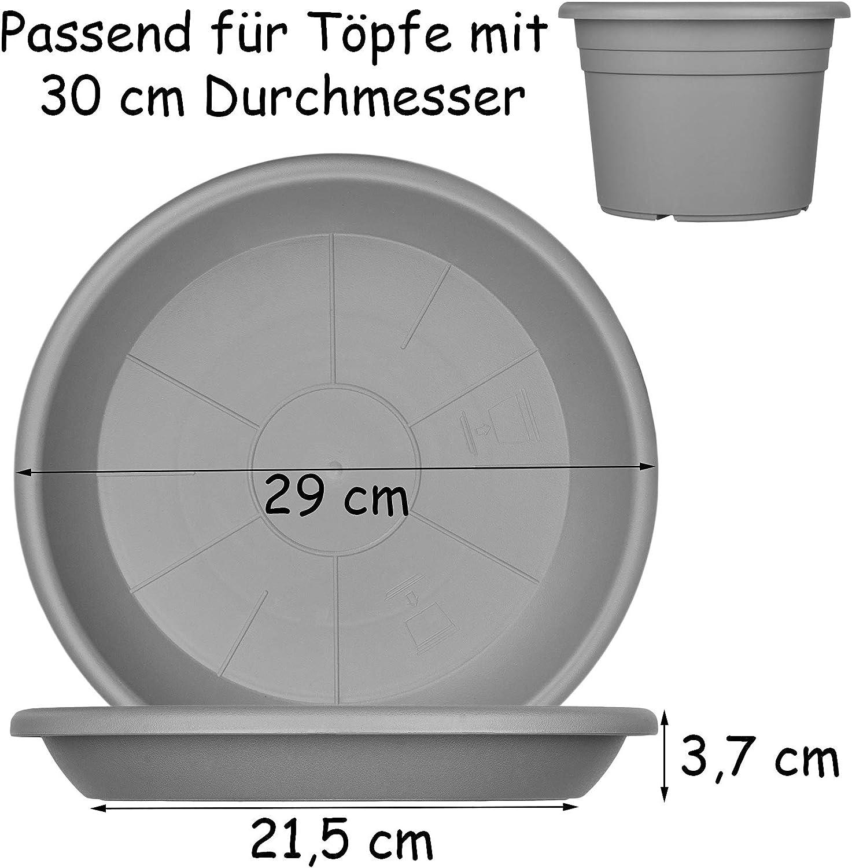 9x Blumentopf Untersetzer 29 cm Farbe Anthrazit Kunststoff Blumenuntersetzer Blumentopfuntersetzer passend zu 30 cm Blument/öpfen