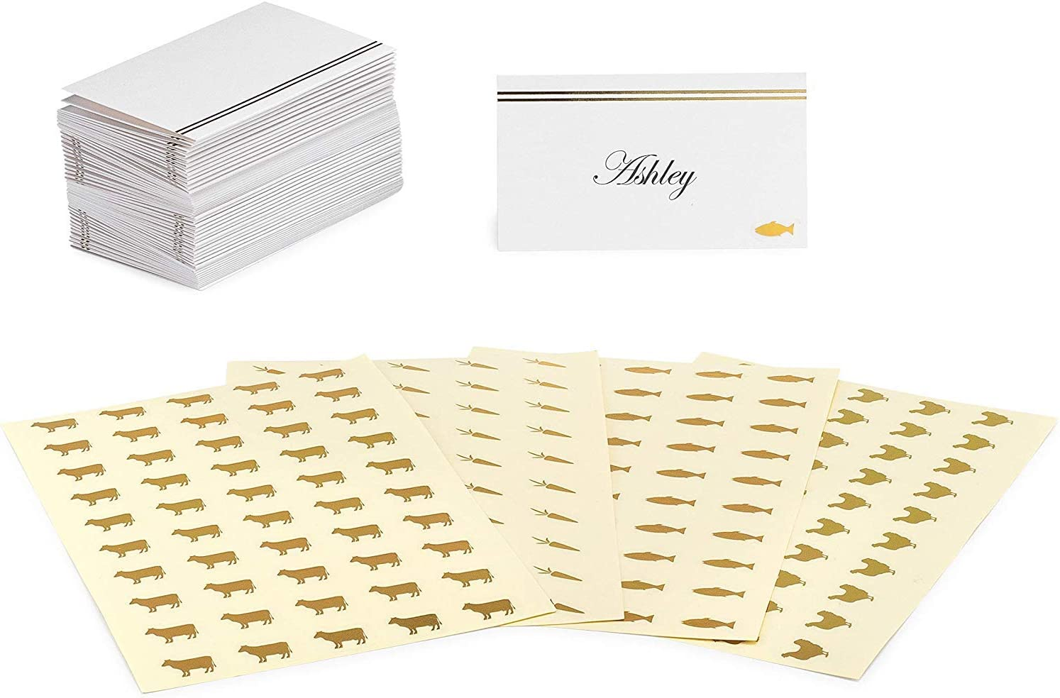 Set of 50 place cards with 200 Meal Choice stickers (Gold)