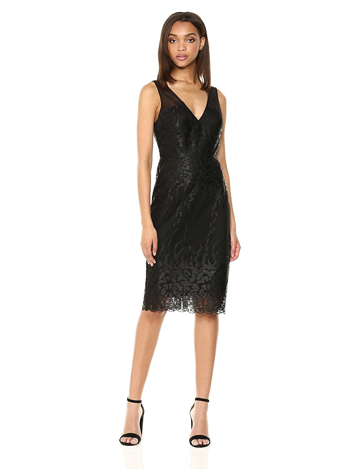 888cc85566b97 Nicole Miller New York Women's Sleeveless V-Neck Fitted Cocktail Dress at  Amazon Women's Clothing store: