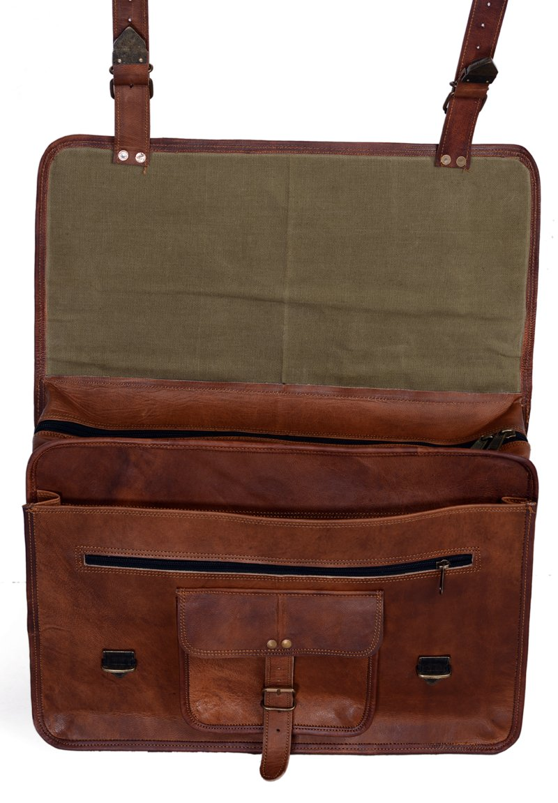 260f90c15369 KPL 18 Inch Vintage Men s Brown Handmade Leather Briefcase Best Laptop  Messenger Bag Satchel