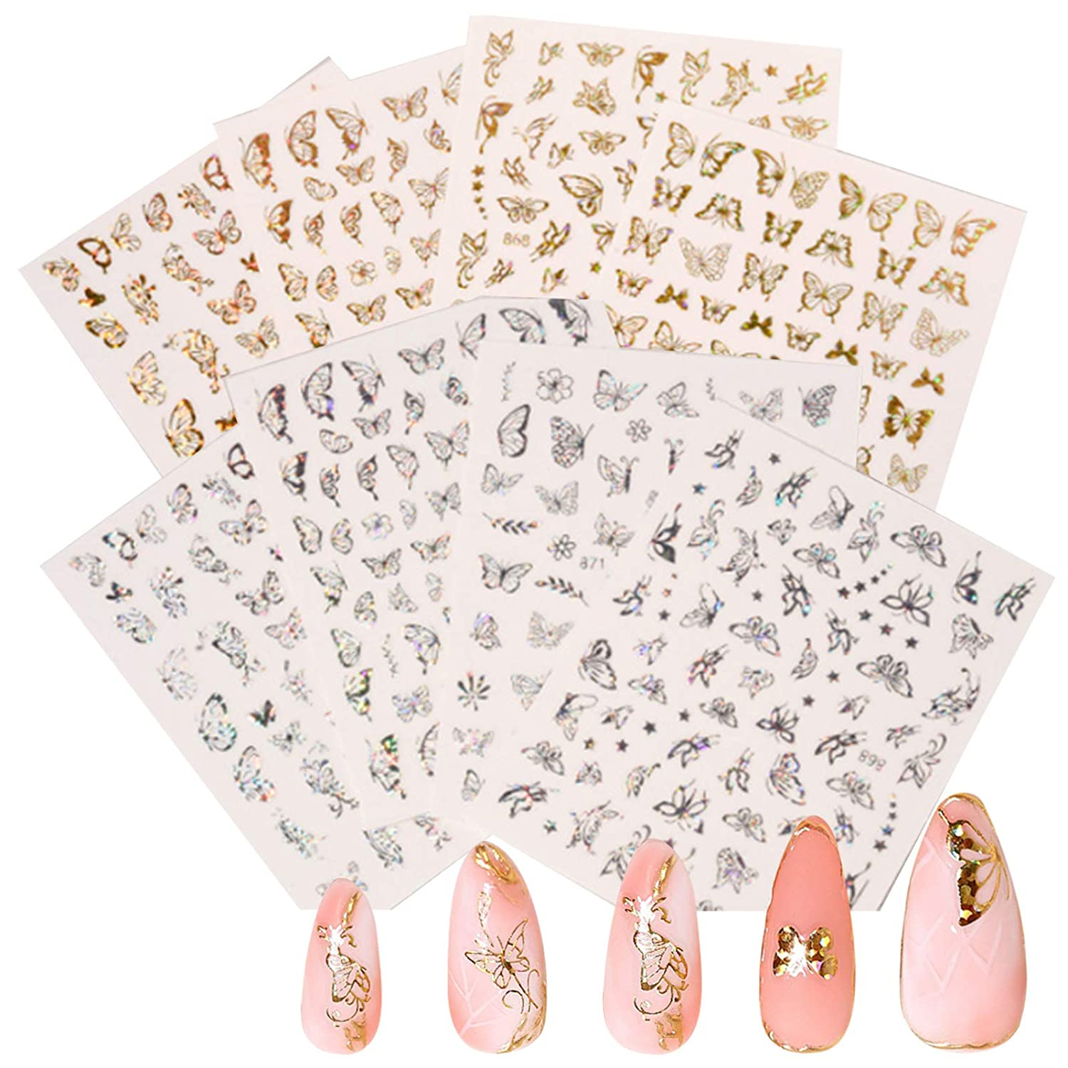 16 Sheets Nail Art Adhesive Sticker Sheets, Shellvcase Laser Gold and Silver Butterfly Metallic Nail Decals, Self-Adhesive 3D Butterfly Nail Stickers for Women Girls Salon Home DIY Nail Decoration