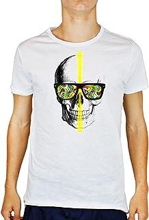 Tshirt Uomo Cotone Fiammato Skull Glasses -Colors - Teschio - Occhiali da Sole - Colori - Tutte Le Taglie by Tshirt Uomo Cotone fiammatoeria t-shirteria