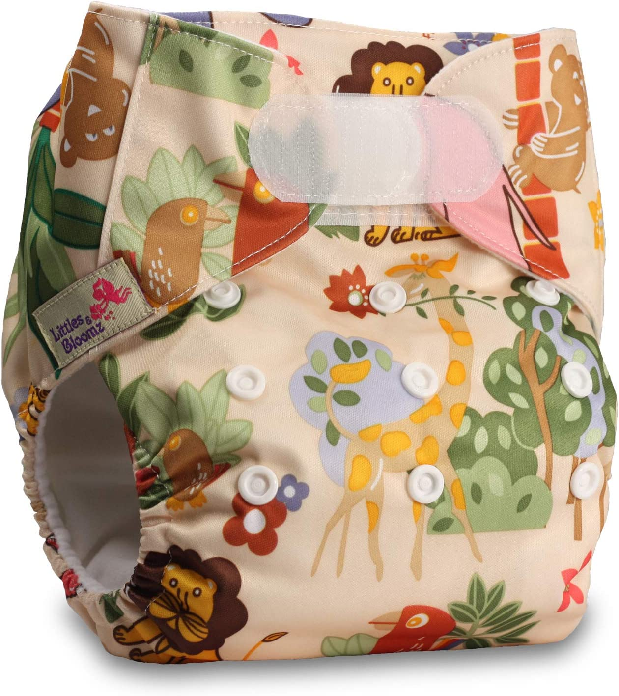 Reusable Pocket Cloth Nappy with 5 Bamboo Inserts Littles /& Bloomz P503bb1 Fastener: Popper
