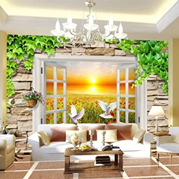 Colomac Wall Mural Sunset Rose Garden 3D Stereoscopic Window View ...