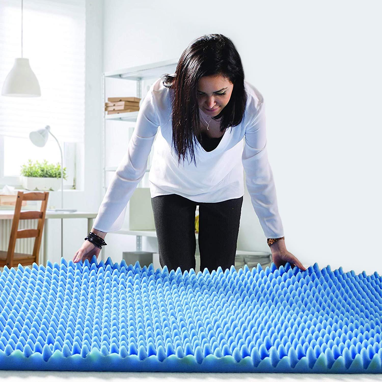 DMI Convoluted Foam Bed Pad Mattress Topper, Hospital Size, Blue, 33 x 72 x 4 Inch
