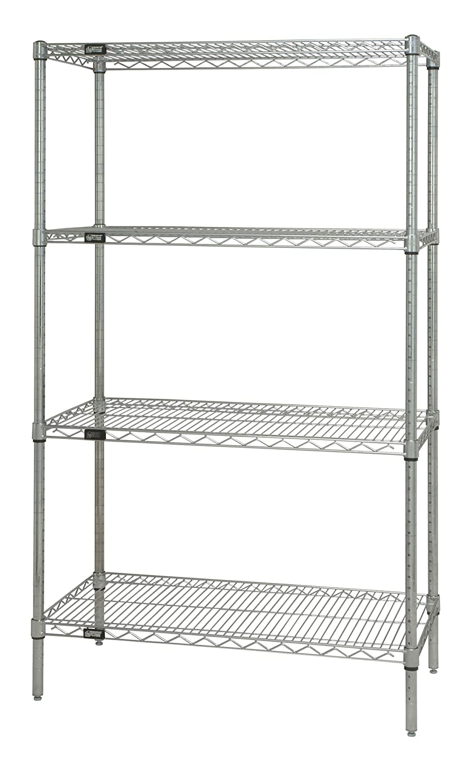 Chrome Finish Quantum Storage Systems WR54-2430C Starter Kit for 54 High 4-Tier Wire Shelving Unit 24 Width x 30 Length x 54 Height