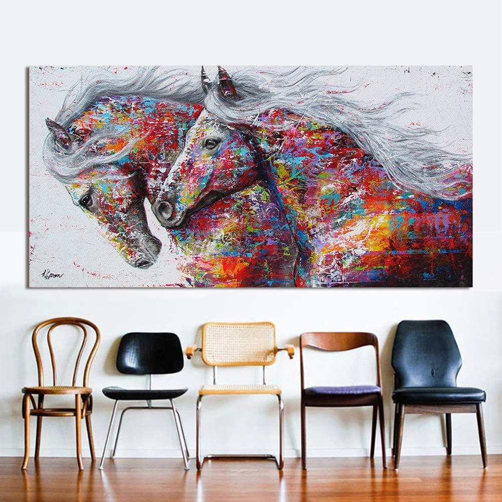 elegantstunning Cheval D/écoration Murale Tableau Peinture /à lhuile sur Toile imprim/é Animal pour Le Salon Home Decor 20X40cm