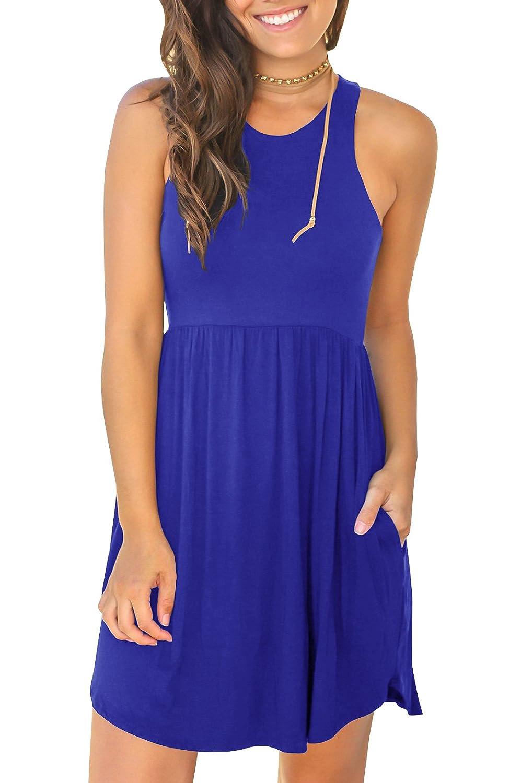 bluee Karlywindow Womens Sleeveless T Shirt Dress Summer Swing Flowy Pleated Tank Tunic Pockets Dresses