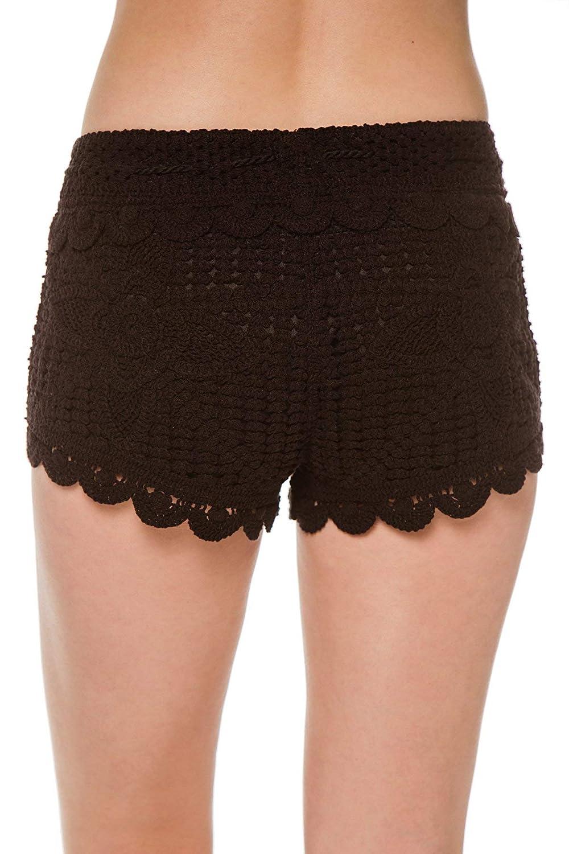 e7a4089b57323 Surf Gypsy Women s Wovens Crochet Tassel Tie Shorts Swim Cover Up at Amazon  Women s Clothing store