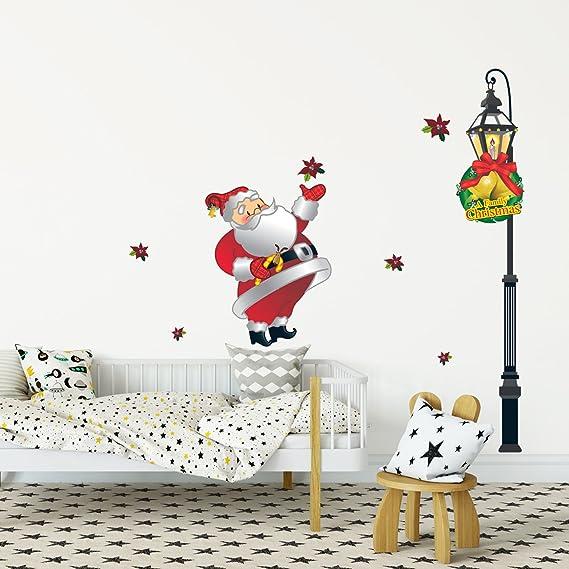Decowall dch-002 Navidad Navidad Papá Noel y luz Tráfico Christmas pegatinas de pared decoración pared pegatinas murales: Amazon.es: Hogar