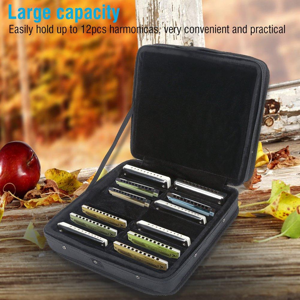 T-best 10 Holes 12 Pieces Nylon Diatonic Harmonica Carrying Storage Case with Zipper Protable Harmonica Bag