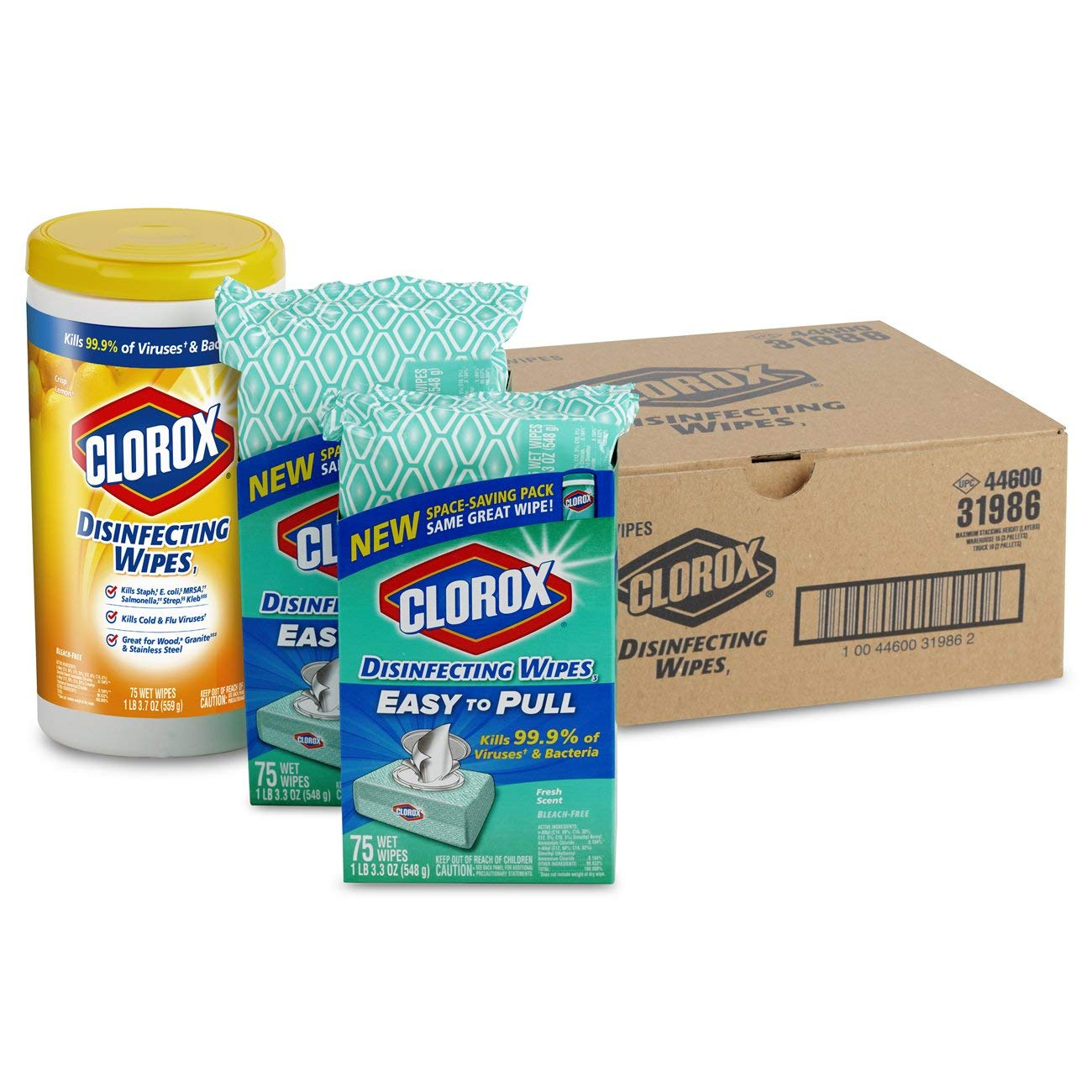 75 Count Each Clorox Disinfecting Wipes Value Pack Bleach Free Cleaning Wipes Pack of 3