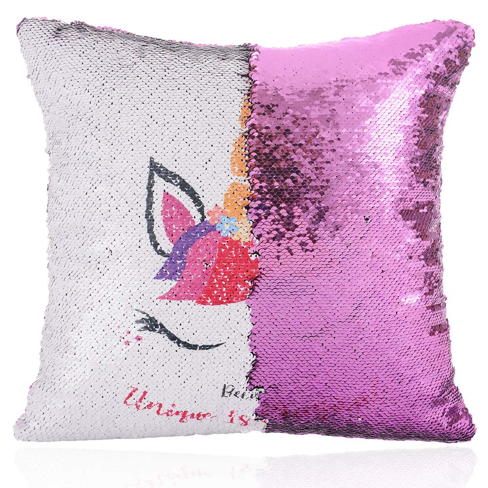 Yamii Unicorn Mermaid Pillow Case Magic Reversible Sequin Cushion Cover Decorative Cushion Cover Throw Pillowcase for Home Sofa Bed Car Decor 15.7 x 15.7 in (Purple)