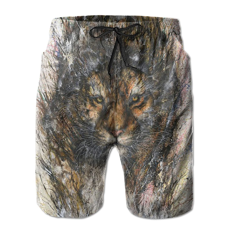 f47aae9508 Fashion Men's Beach Short Pants Graffiti Lion Print The Beach Board Shorts  Quick-drying Swim