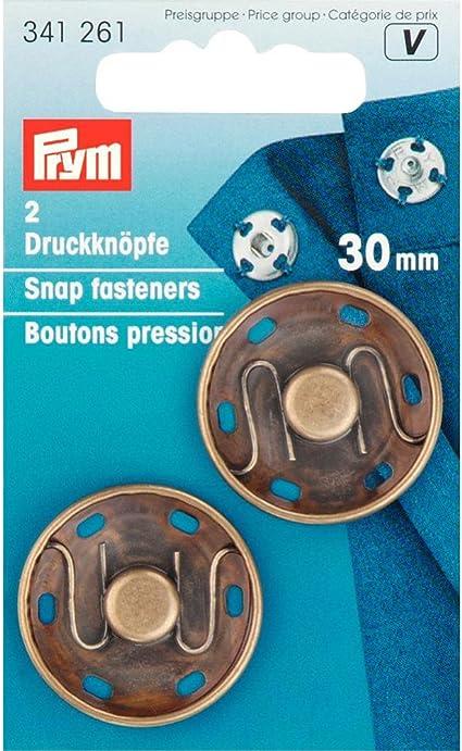 2 pieces by PRYM PRYM 341261 Sew-on snap fasteners brass Size 30mm antique brass