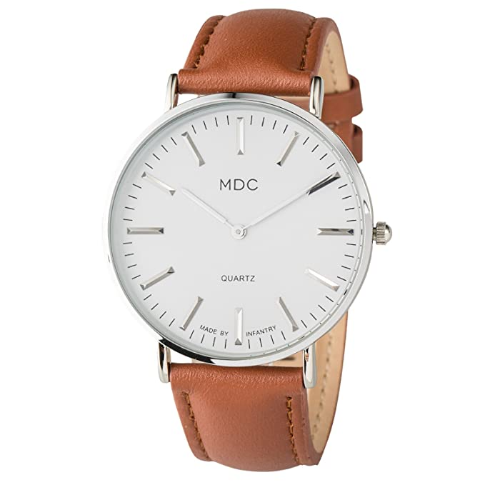 MDC Mens Classic Brown Leather Watch Slim Minimalist Wrist Watches for Men Casual
