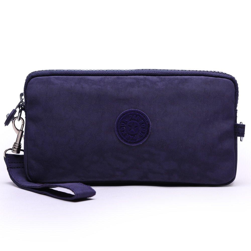 Sumcoa Womens Multi-purpose Canvas Casual Waterproof Nylon Wristlet Clutch bag Handbag Zipper Purse Cell Phone Money Pouch Wallet (blue-purple)