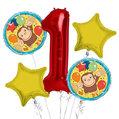 Curious George Balloon Bouquet 1st Birthday 5 pcs - Party Supplies: Health & Personal Care