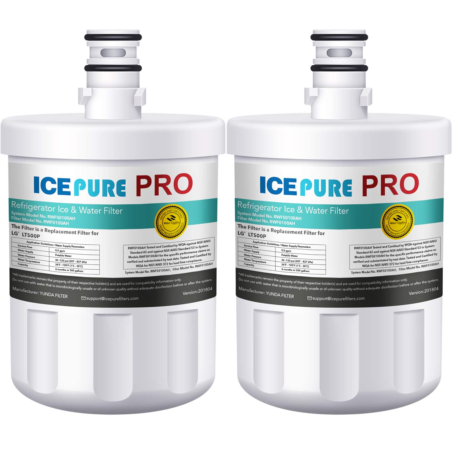 ICEPURE PRO LT500P NSF 53&42 Certified Refrigerator Water Filter, Compatible with LG LT500P, 5231JA2002A, ADQ72910901, Kenmore GEN11042FR-08, 9890, 46-9890, LFX25974ST, Advanced Series (2 PACK)