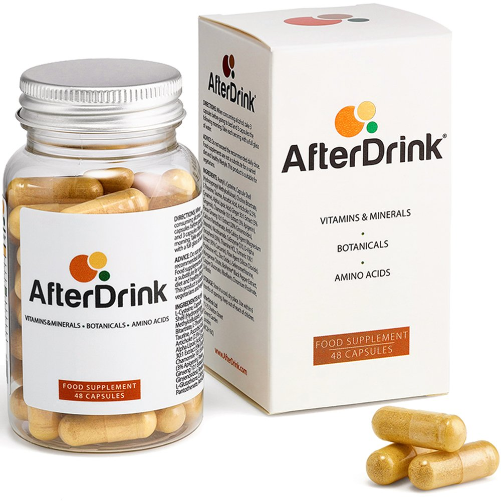 AfterDrink : Hangover Support and Prevention Aid - 25 Plant Based Antioxidants - Dihydromyricetin (DHM), Milk Thistle, NAC, Ginger, Turmeric & More - 1 Bottle = 8 Nights Out - Made in The USA