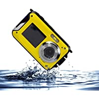 Waterproof Camera, eTTgear Digital Camera With Small Size 2.7 Inch Front LCD Double Screens Camera (Yellow)