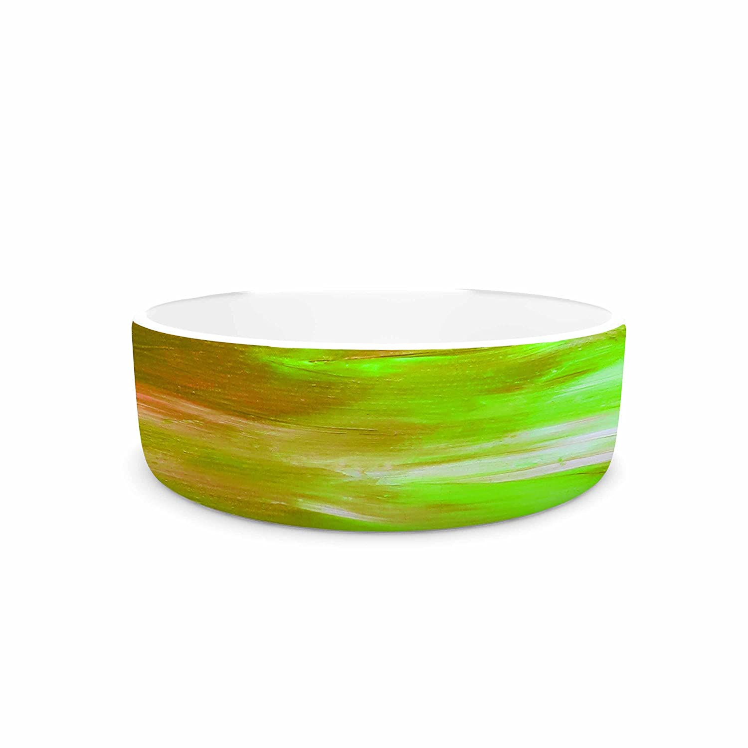 KESS InHouse EBI Emporium Bright Horizons 5  orange Multicolor Painting Pet Bowl, 7  Diameter