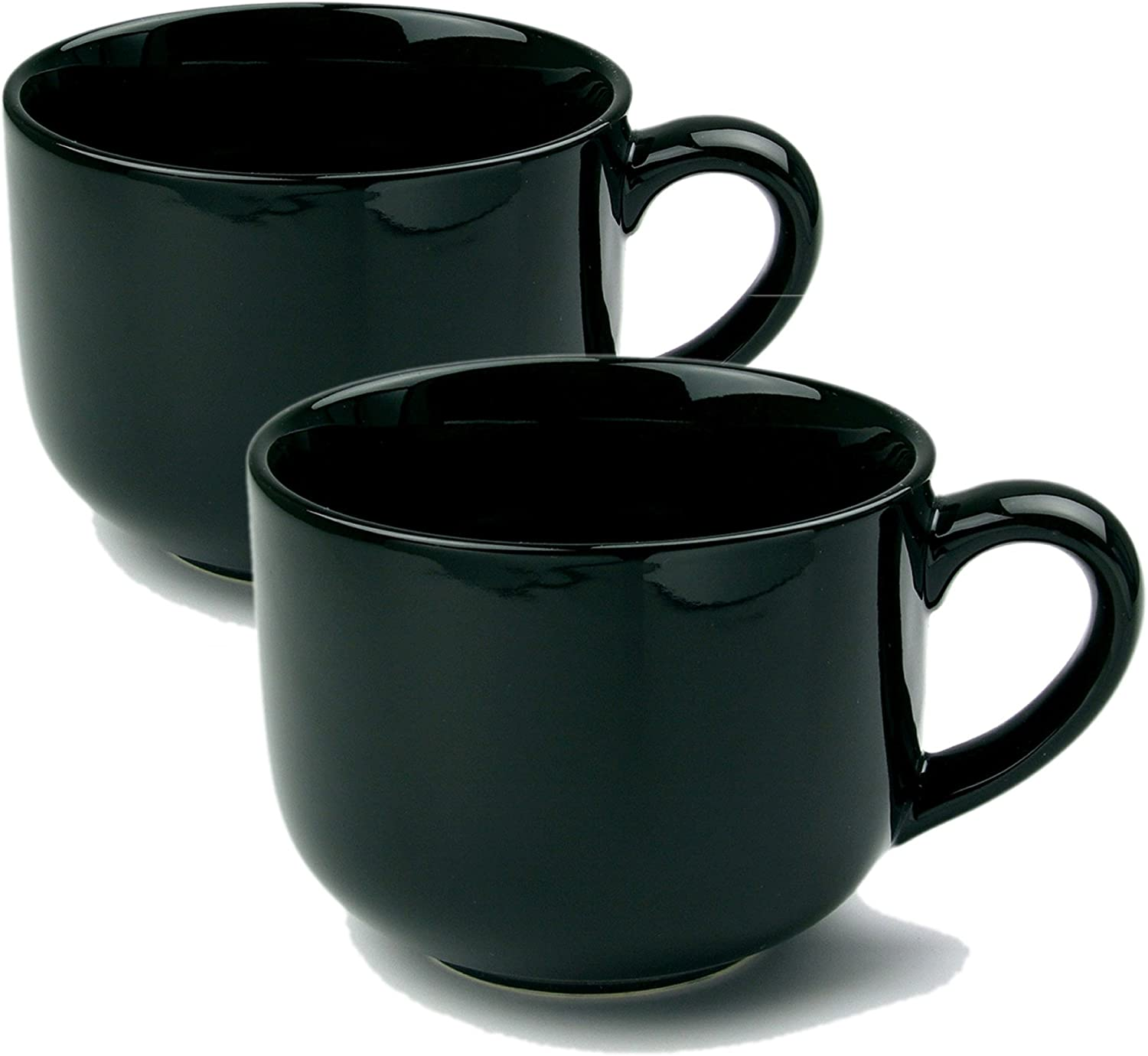 Amazon Com 24 Ounce Extra Large Latte Coffee Mug Cup Or Soup Bowl With Handle Black Set Of 2 Kitchen Dining