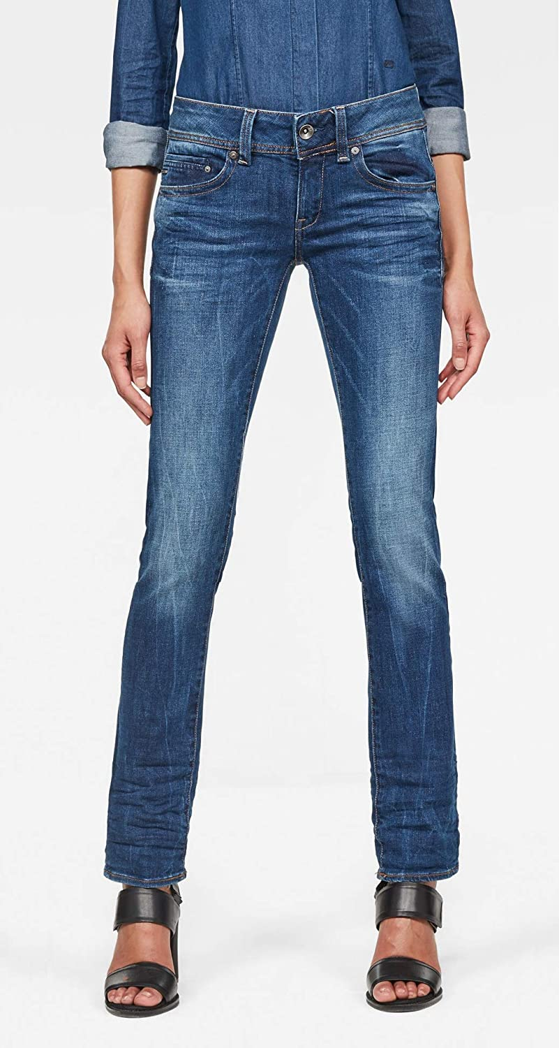 TALLA 31W / 30L. G-STAR RAW Midge Saddle Mid Waist Straight Jeans para Mujer