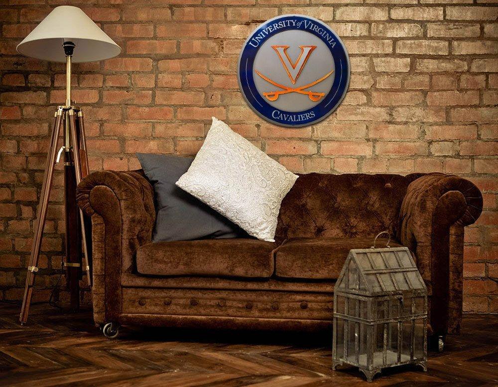 Gear New University of Virginia Crest 3D Vintage Metal College Man Cave Art, Large, Orange/White/Blue