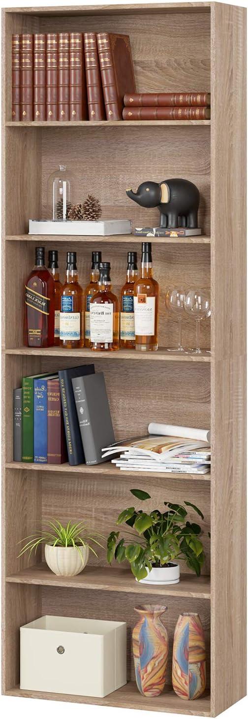 Homfa Estantería 6 Cubos Librerías para Libros CDs DVDs Estantería de Pared 60x23.5x180cm (Roble Claro)