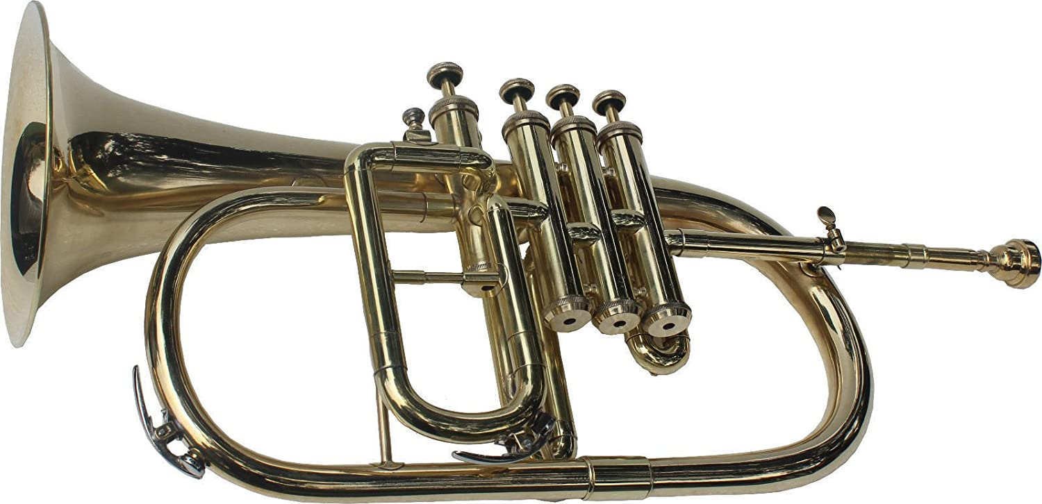 BRAND NEW NICKEL PLATED Bb FLAT 4 VALVE FLUGEL HORN +FREE HARD CASE+MOUTHIPICE SAI MUSICAL