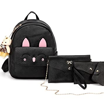 Amazon.com   DIOMO Womens Cat Backpack Set Leather Multi-Way Girls School  Backpack Cartoon Pendant (Black)   Kids  Backpacks 4f914b5365
